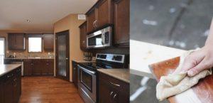 Wonderful Modern Corner Walk in Pantry Wooden Style Interior and Laminate Flooring